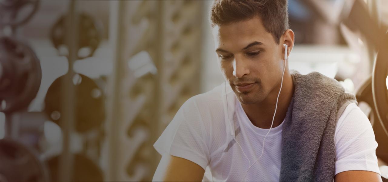 Man with headphones.
