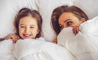 mom and daughter, why sleep is important at any age sm