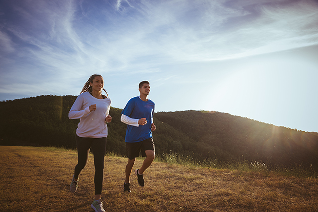Man and woman running, getting fit, no excuses