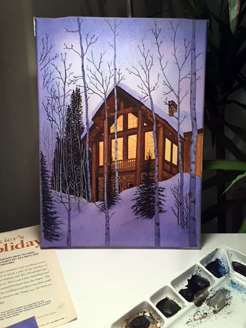 Water color painting of a cabin in the woods, why I love