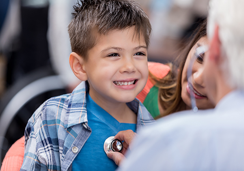little boy using stethoscope, the right care when you need it