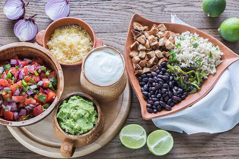 Chicken burrito bowl recipe, guacamole