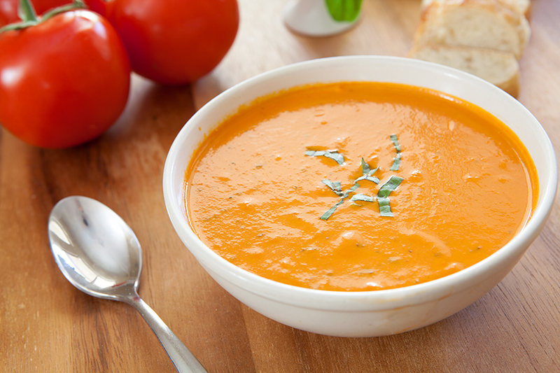 Roasted tomato soup in a bowl recipe