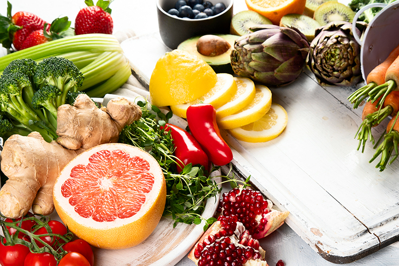 Healthy food on a counter, how to create a healthy diet