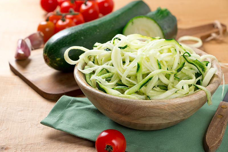 Healthy food swaps, zucchini spiral noodles