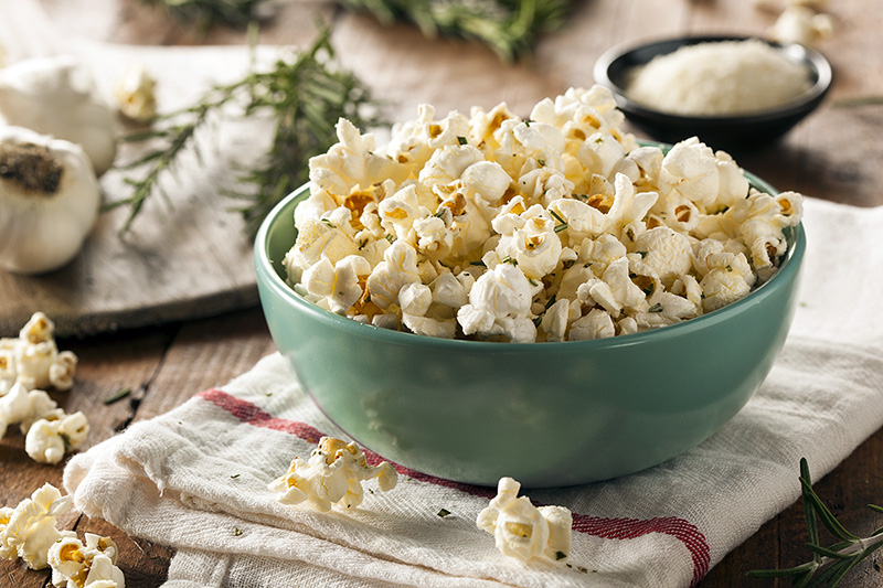 Homemade popcorn in a bowl, healthy snack ideas when you crave something crunchy