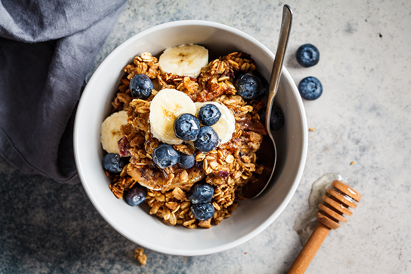 Blueberry banana baked oatmeal in a bowl, recipe