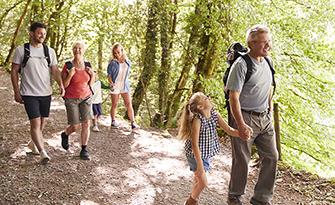 Family walking outside, preventing prediabetes sm