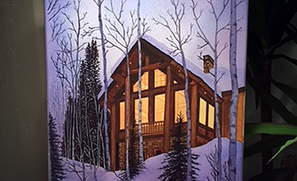 Water color painting of a cabin in the woods, why I love sm