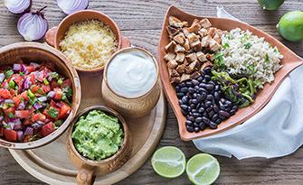 Chicken burrito bowl recipe, guacamole sm