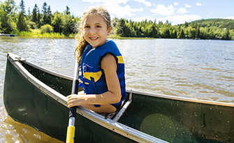 Girl in a canoe on a lake, how to swim safely in natural waters sm
