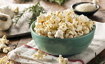 Homemade popcorn in a bowl, healthy snack ideas when you crave something crunchy sm