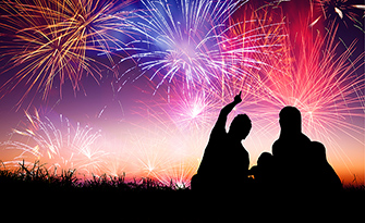 Family outside at night watching fireworks, staying safe while watching fireworks sm