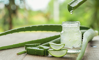 Home remedies to help with sunburns, aloe vera on a table sm