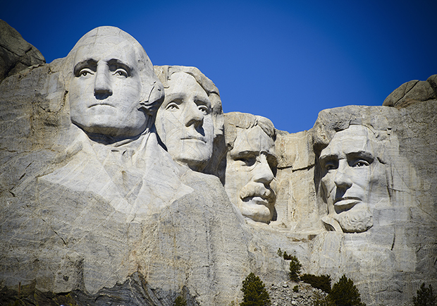 Mount Rushmore, images of four president's for President's Day