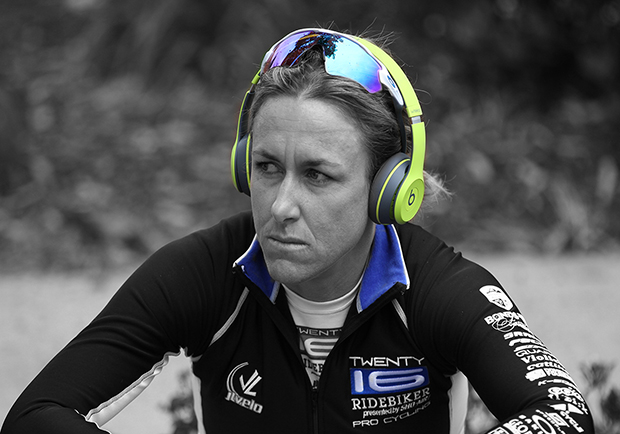 Kristin Armstrong listening to a workout mix