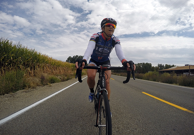 Kristin Armstrong biking with a GoPro