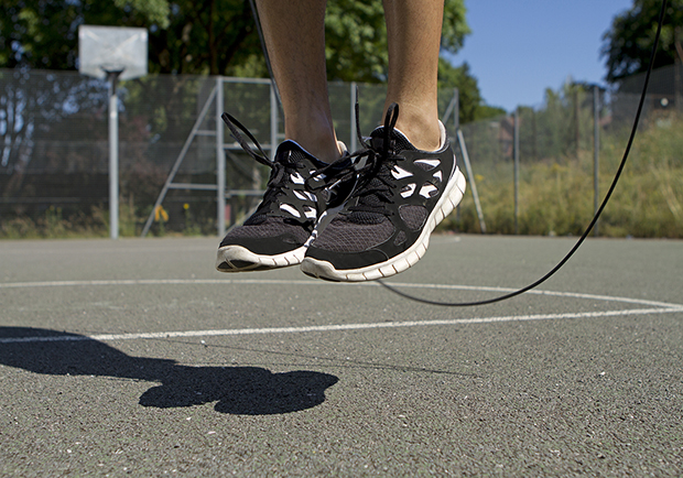 At home fitness test, jumping rope