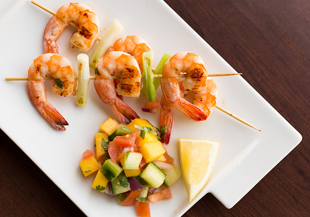 Recipe for delicious grilled shrimp with light mango chile relish from Chef Mary