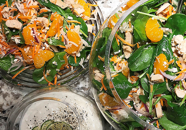Chef Mary makes a lighter version of this Mandarin Chicken Spinach Salad