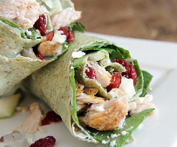 Light and healthy recipe for chicken cranberry wraps