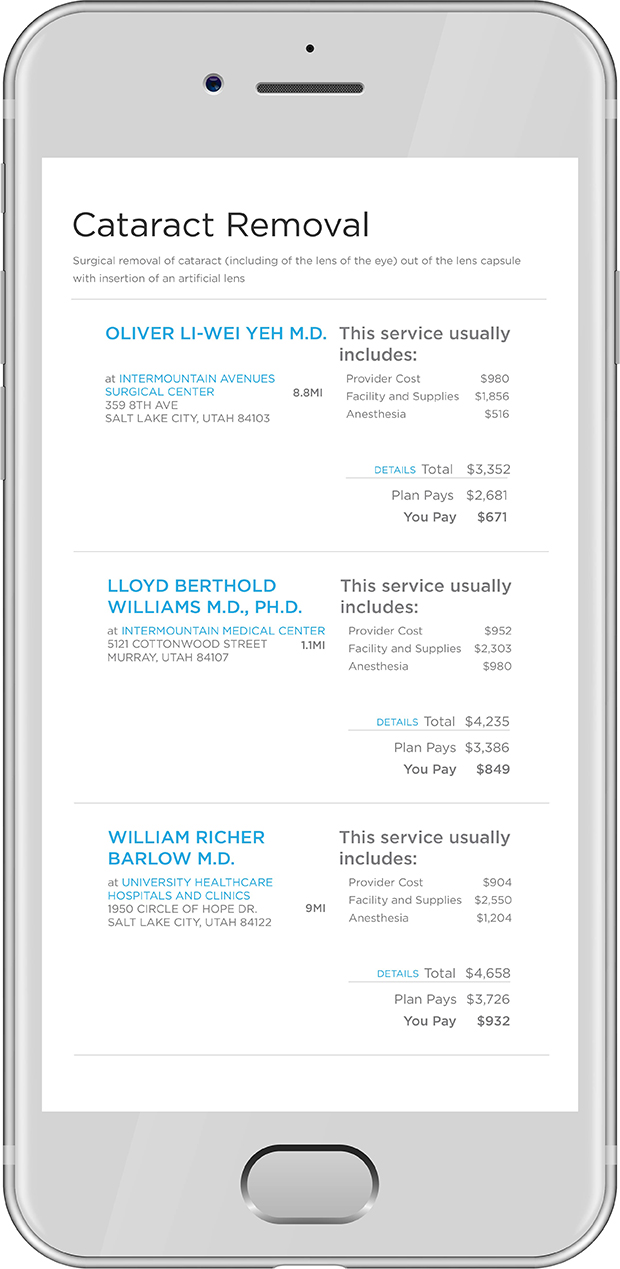 Medical Cost Estimator, image of a phone using cost transparency tool