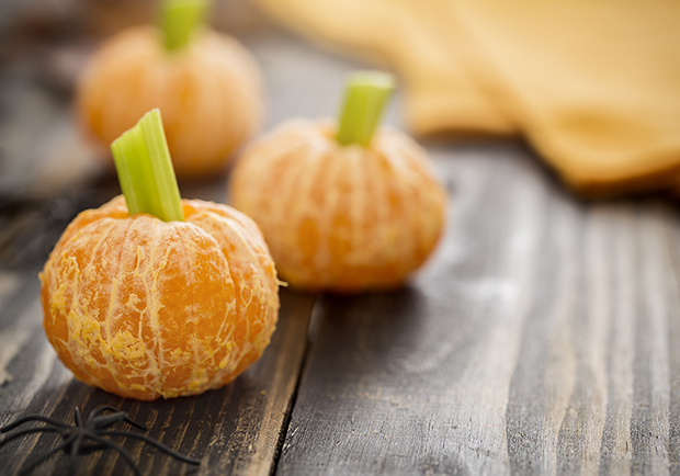 Cut down on sugar this Halloween, Cutie pumpkins with celery