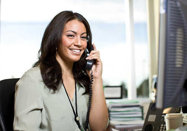 Woman talking on the phone, customer service, Care Management