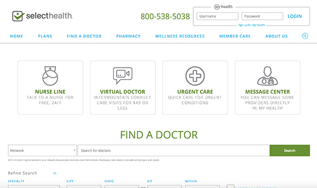 Find a doctor screenshot from a webpage, SelectHealth