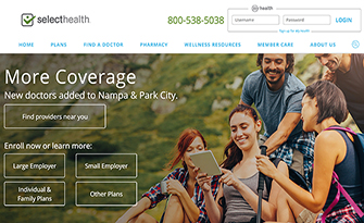 Homepage for SelectHealth Website, screen capture
