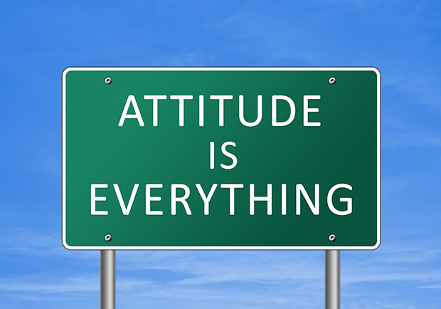 Road sign saying Attitude is everyting