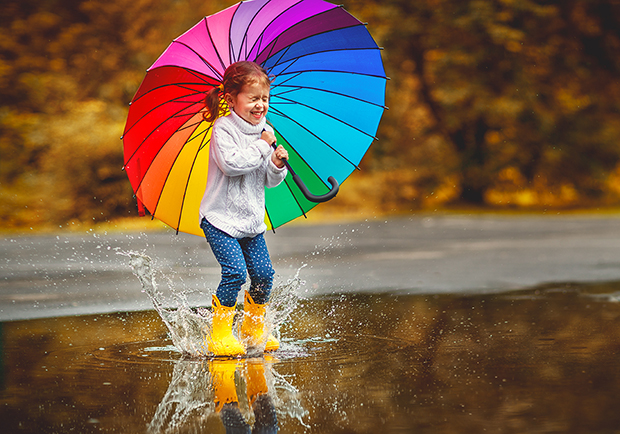 Finding Joy, girl jumping in a puddle happily, how can I find joy