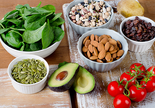 Foods rich in potassium, good sources of potassium, avocado, almonds, spinach, tomatoes