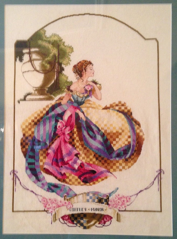 Why I love cross stitch, woman in dress