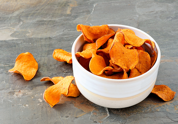 Sweet potato chips, healthy snack ideas,