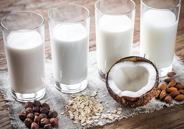 Alternatives to cow milk, almond, hemp, oat and coconut