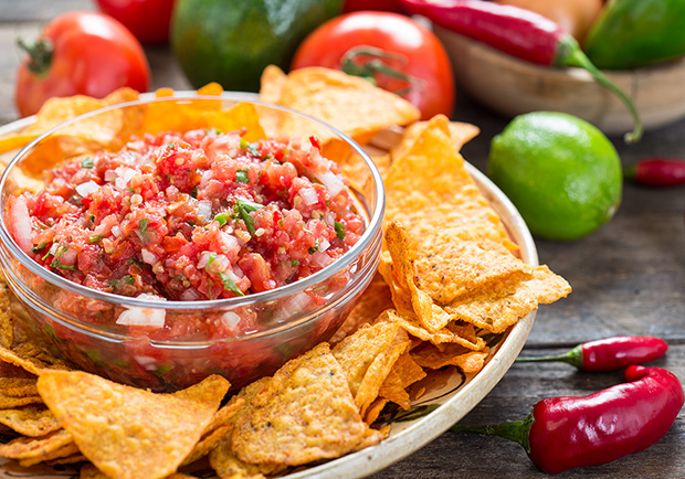 Homemade blender salsa with tortilla chips