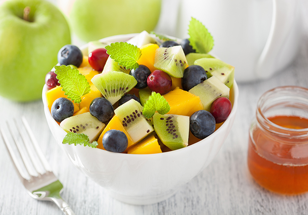 Fruit salad with honey mint dressing