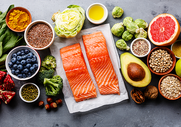 Superfoods, salmon, blueberries, avocado, etc.