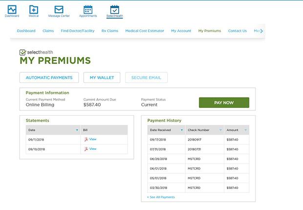 Payment portal, SelectHealth, login image