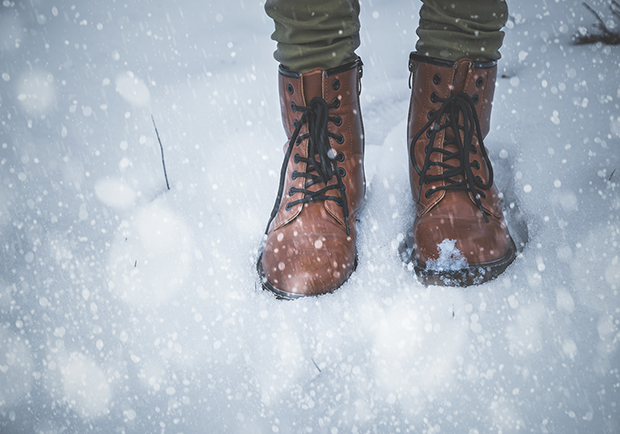 Feet in the snow, step into winter