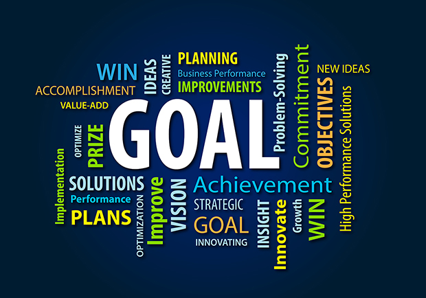 Goals, and inspirational word cloud, how to set goals, large