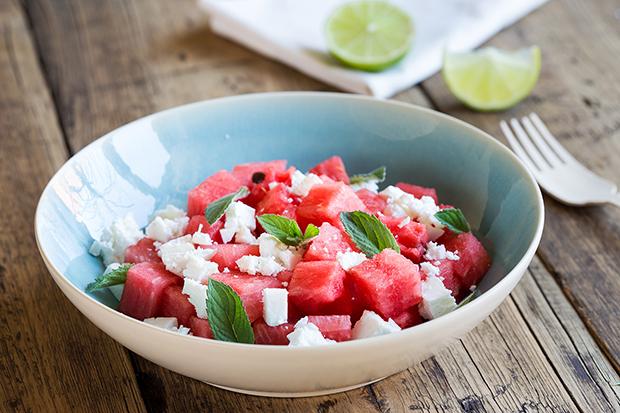 watermelon mint goat cheese salad recipe