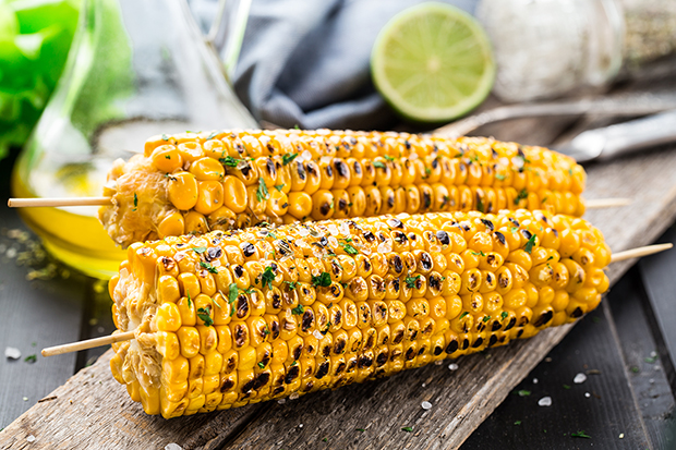 Grilled corn on the cob with basil recipe