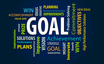 Goals, and inspirational word cloud, how to set goals, small