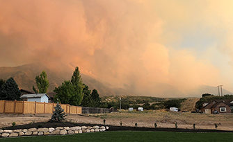 Wildfire, Mount Nebo with wildfire smoke from Salem, Ut.
